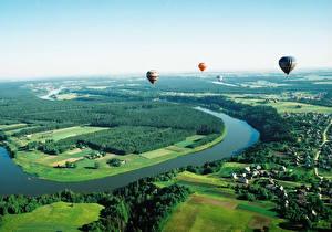 Фото Пейзаж Литва Лес Поля Сверху Воздушный шар Neringa Природа Города
