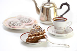 Фотография Сервировка Чай Торты Пирожное Пища