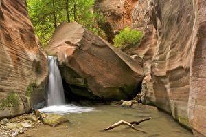 Фотография США Парк Водопады Зайон национальнай парк Каньон Утес Utah