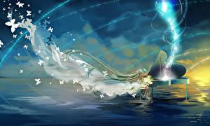 Обои Vocaloid Hatsune Miku Пианина Фэнтези Девушки
