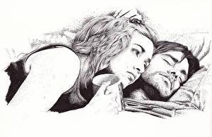 Обои для рабочего стола Кейт Уинслет Jim Carrey Рисованные Eternal Sunshine of the Spotless Mind Фильмы Знаменитости Девушки