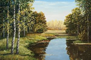Картинки Осень Озеро Lutsenko Природа
