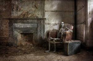Обои Скелет Старый Кресло Камин фото