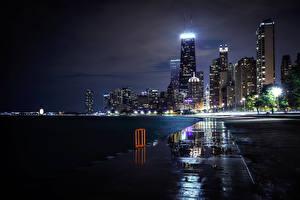 Обои США Небоскребы Чикаго город Ночь Illinois Города