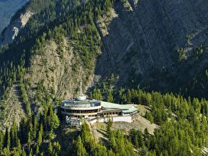 Обои для рабочего стола Канада Парк Горы Здания Банф Ели Природа