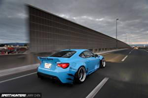 Картинки Toyota Дороги Голубой Сзади Скорость gt86 scion fr-s subaru brz Авто