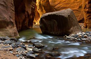 Картинки Штаты Реки Камень Парки Зайон национальнай парк Каньон Utah