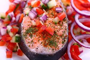 Картинка Морепродукты Рыба Овощи Еда