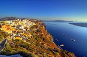 Картинка Греция Здания Реки Гора Побережье Тира Сверху Города Природа