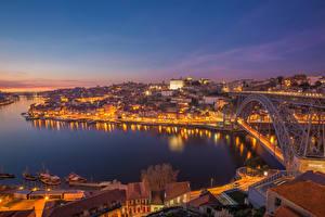 Фото Португалия Мосты Речка Порту Ночь