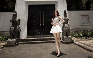 Картинка Азиаты Платье Двери девушка