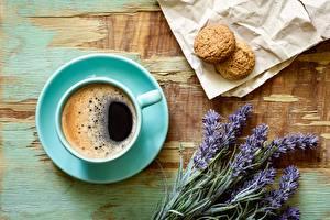 Фотографии Кофе Лаванда Печенье Блюдце Цветы