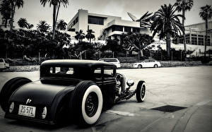Картинки Старинные Сзади hot rod Автомобили Города