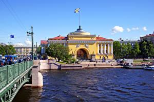 Картинки Россия Санкт-Петербург Реки Здания Главное адмиралтейство город