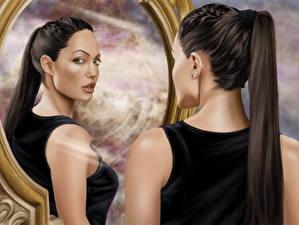 Фотография Анджелина Джоли Рисованные Лара Крофт Зеркало Брюнеток Отражение Девушки