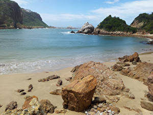 Картинки Море Камень Берег Африка ЮАР knysna