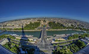 Фотографии Франция Реки Париж Сверху Горизонта River Seine Города