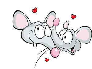 Картинка Рисованные Мыши Сердечко