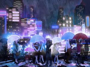 Фото Токийский Гуль Дождь Зонт Улица Парни kaneki ken Аниме Города Девушки