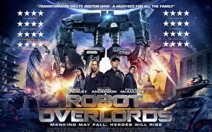Картинки Gillian Anderson Мужчины Робот Robot Overlords 2014 Кино Знаменитости