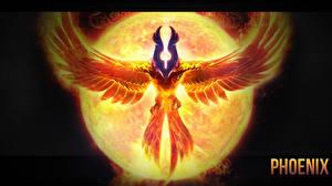 Картинка DOTA 2 Волшебство Птицы Phoenix Феникс Солнце Игры
