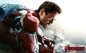 Обои Мстители: Эра Альтрона Роберт Дауни мл. Железный человек герой Мужчины Герои комиксов Фильмы Знаменитости