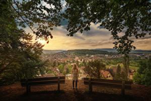 Картинки Швейцария Пейзаж Цюрих Скамья Watching over the city Города Девушки