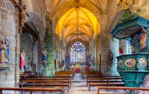 Фото Франция Религия Храмы HDRI Скамейка Brittany Locronan St Ronan Ambon liturgy город
