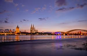 Фотографии Германия Реки Небо Кёльн Ночь