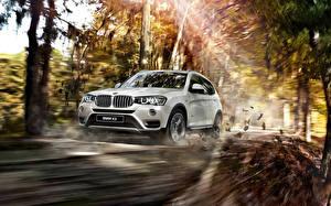 Картинка BMW Лучи света Белых Движение 2015 X3 F25 Автомобили