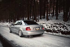 Обои Audi Дороги Зима A4 stance Авто