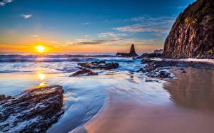 Картинка Австралия Рассветы и закаты Небо Море Jones Beach, Kiama Downs, New South Wales, Tasman Sea Природа