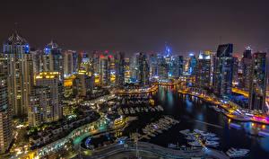 Картинка ОАЭ Дубай Небоскребы Ночные Города