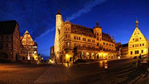 Обои Германия Здания Улица Ночь Уличные фонари Rothenburg город