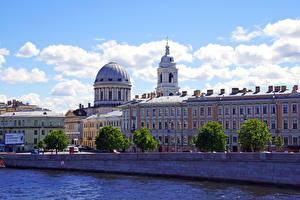 Фотографии Санкт-Петербург Россия Здания Речка город