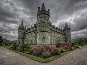 Обои Шотландия Замки HDRI Тучи Inveraray Castle, Scotland Города