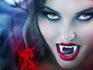 Фотография Вампир Лица Зубы Смотрят Косметика на лице Фантастика Девушки