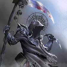 Картинки Демон Монстры Смерть Коса (оружие) Капюшоне