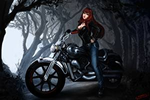 Обои Вампиры Мотоциклист Рыжая Фэнтези Девушки