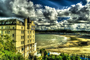 Обои Великобритания Дома Побережье Облака HDR Llandudno Wales Города фото