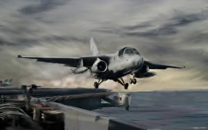 Картинки Самолеты Рисованные Истребители Взлет Lockheed S-3 Viking