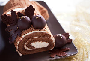Обои Выпечка Рулет Шоколад Еда