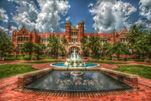Картинка Америка Здания Фонтаны Флорида Дерево Облака Газон HDRI Tallahassee Florida State University город