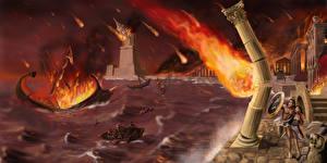 Обои Катастрофы Море Корабли Огонь Empires decay Фэнтези