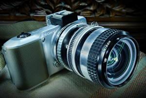 Обои Крупным планом Объектив Фотоаппарат Sony A3000 фото