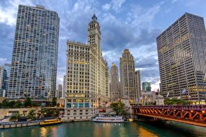Обои США Небоскребы Чикаго город HDR Cityfront Center, Illinois Города