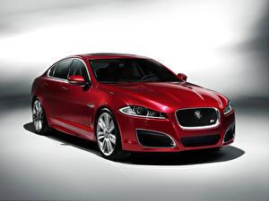 Картинки Jaguar Металлик Красные 2011 XFR Автомобили