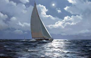 Фотография Живопись Парусные Яхта Море Облака naval art Природа