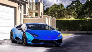 Картинка Lamborghini Синий Спереди Huracan Автомобили