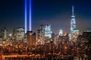 Обои Небоскребы Нью-Йорк Манхэттен Ночь Tribute in Light город